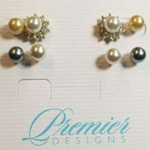 Premier Designs Interchangeable Pearl Earrings